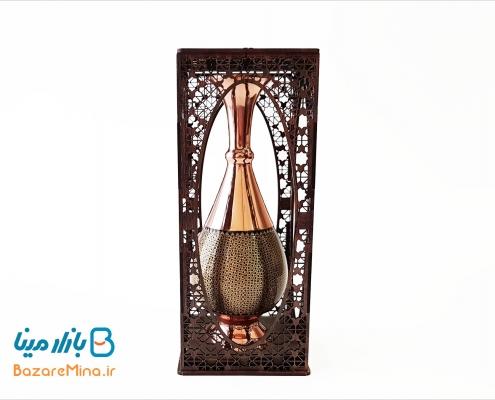 گلدان مس و خاتم کاری جعبه مشبک ارتفاع 16 سانتی متر