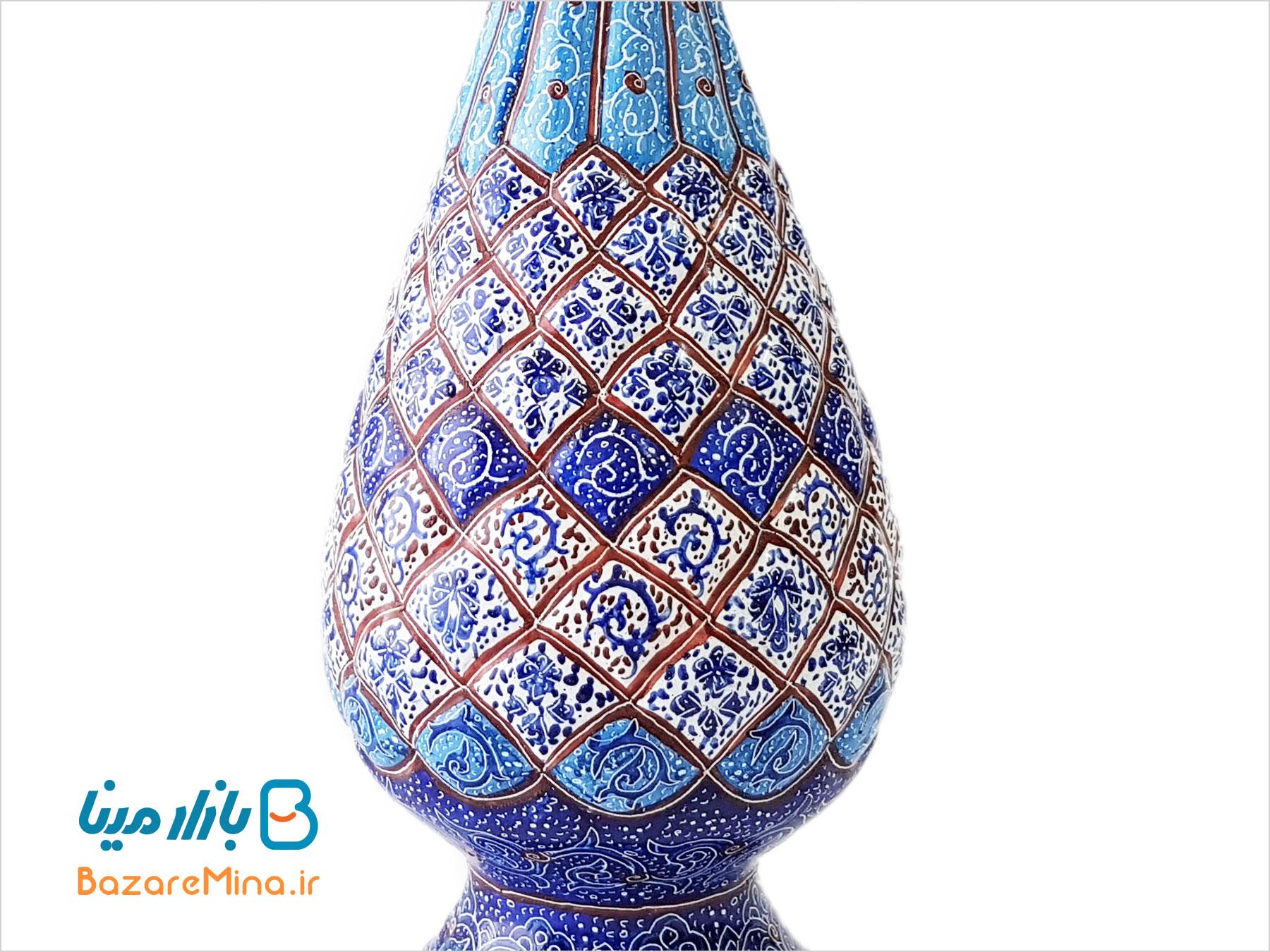 گلدان مسی مینا کاری شده صراحی