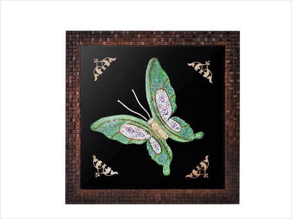 قاب پروانه میناکاری سایز بزرگ