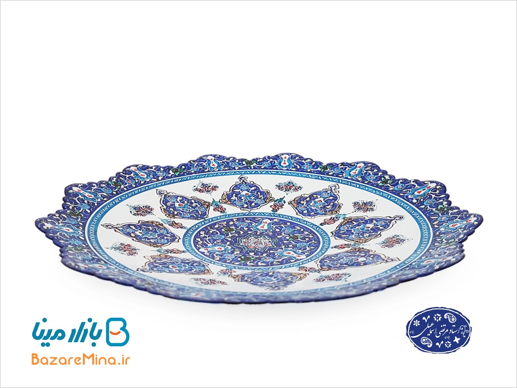 بشقاب مسی مینا کاری شده اصفهان 20 سانتی متر