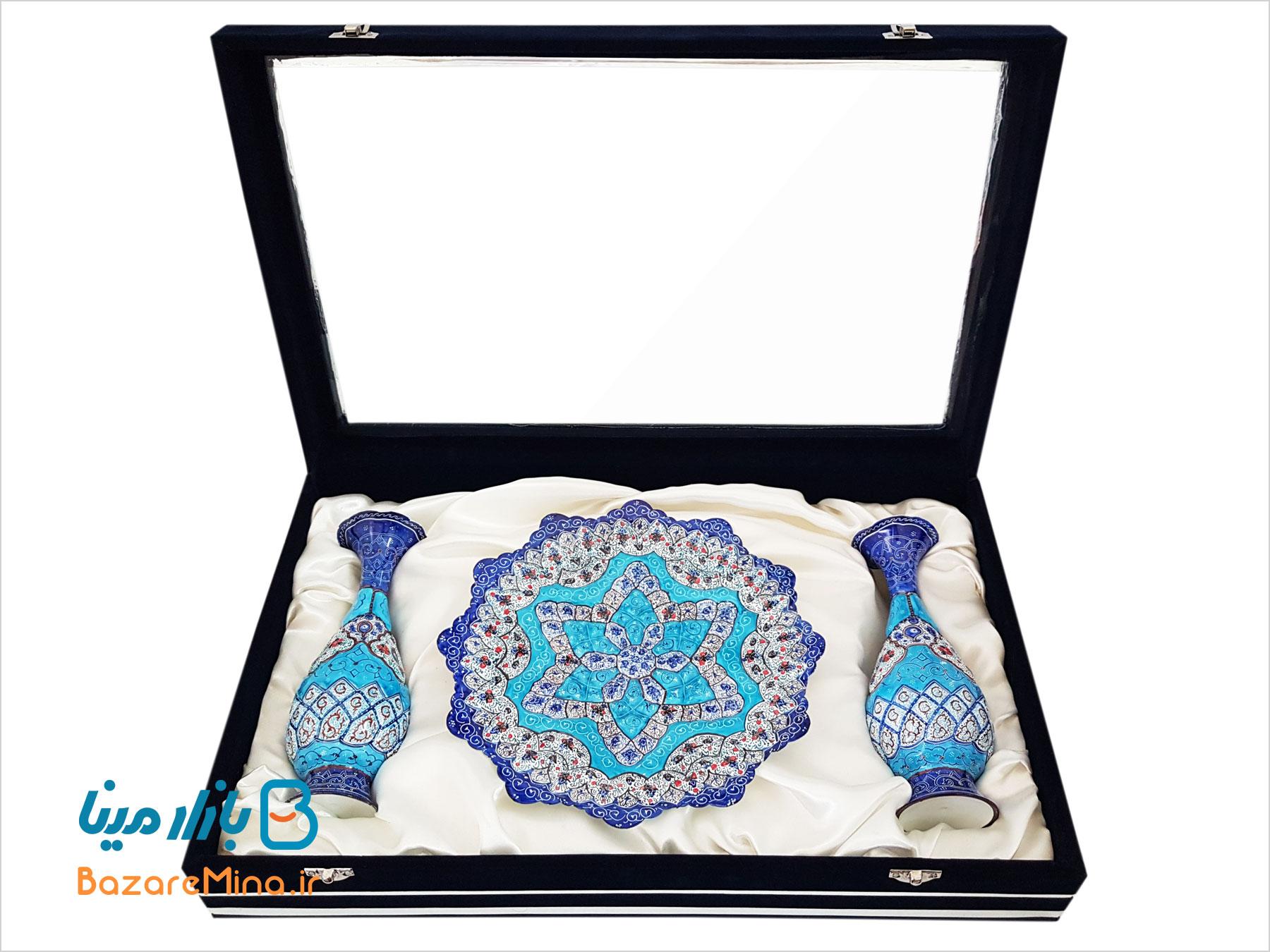 باکس ست گلدان و بشقاب میناکاری اصفهان