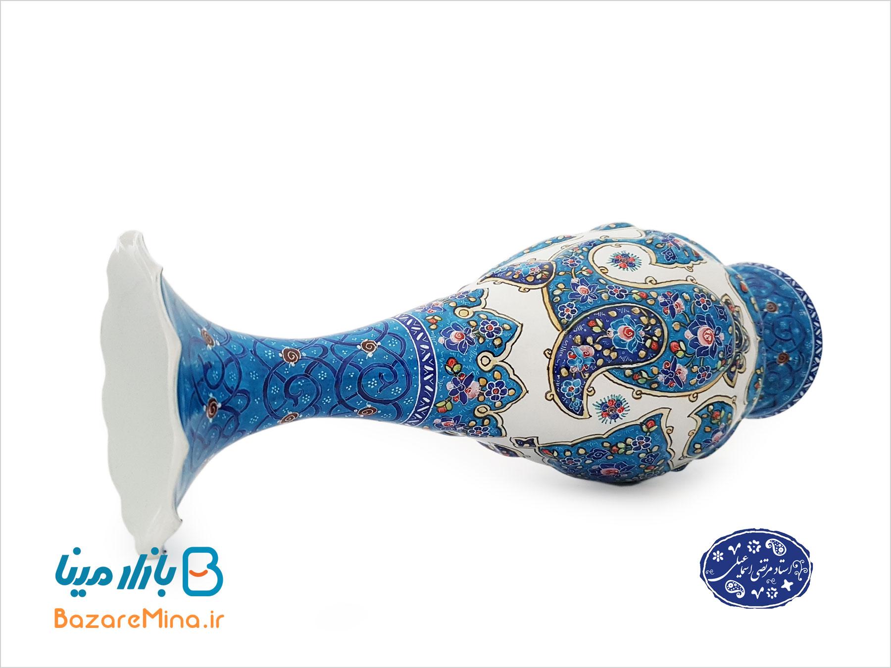 گلدان ميناکاري اثر اسماعيلي طرح ترنج 25 سانتي