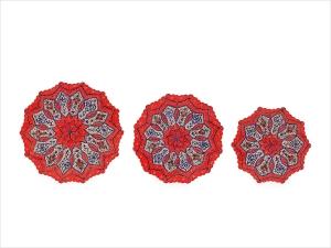 سری سه تکه بشقاب قرمز میناکاری شده اسماعیلی