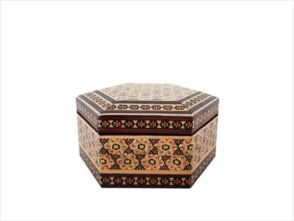 جعبه خاتم کاری شش ضلعی مخصوص جواهرات