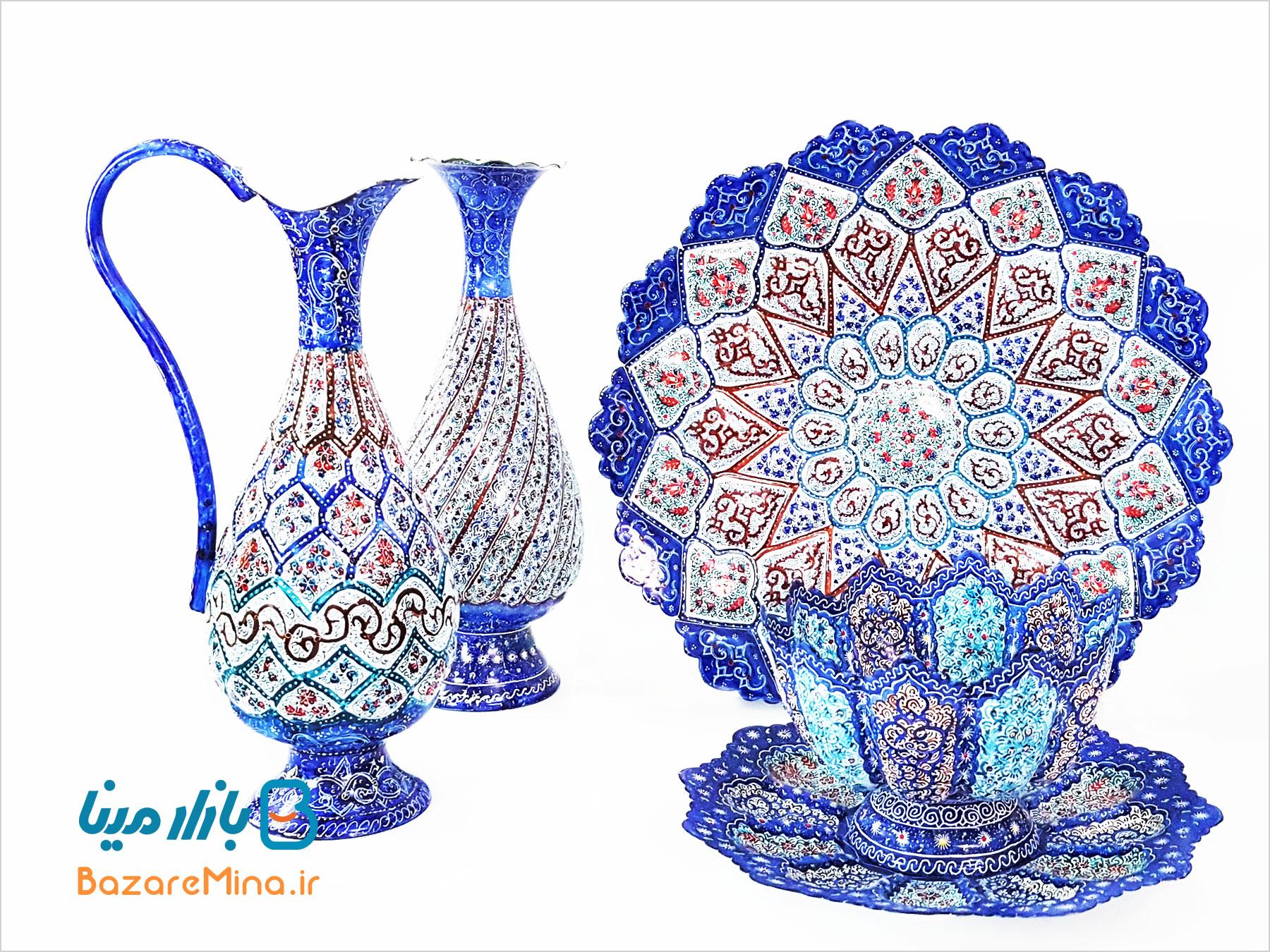 پارچ مسی مینا کاری شده صراحی اصفهان