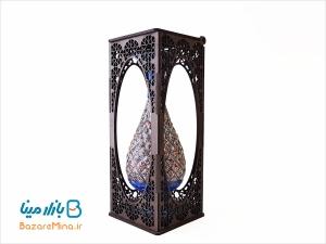 گلدان مسی میناکاری جعبه مشبک ارتفاع 20 سانتی متر