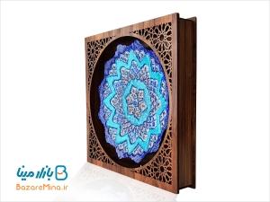 قاب میناکاری با جعبه چوبی مشبک 30*30 سانتی متر