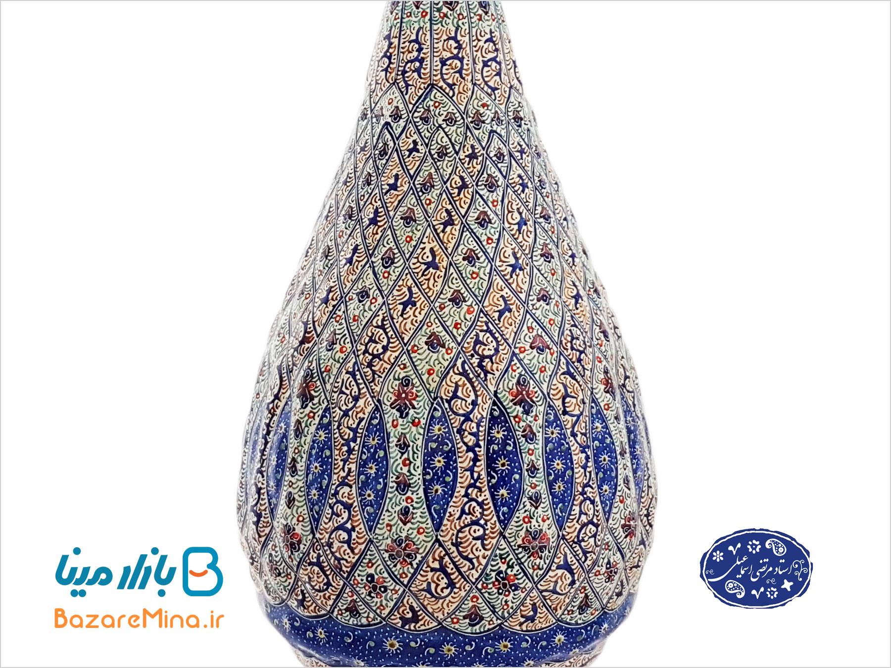 گلدان ميناکاري اسماعيلي طرح برجسته 25 سانتي