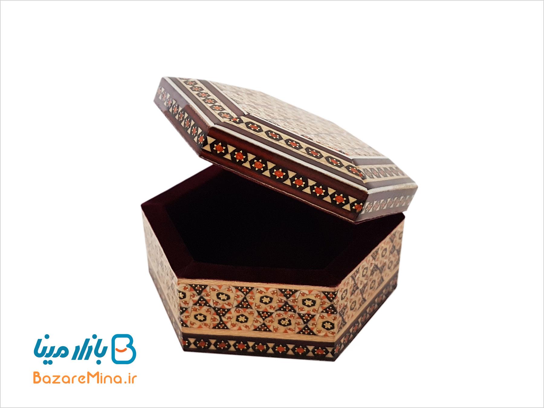 جعبه جواهرات شش ضلعی خاتم کاری