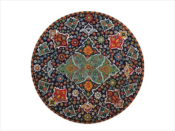 بشقاب سفالی میناکاری اصفهان قطر 30 سانتی