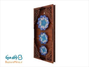 قاب چوبی سه بشقاب میناکاری اصفهان