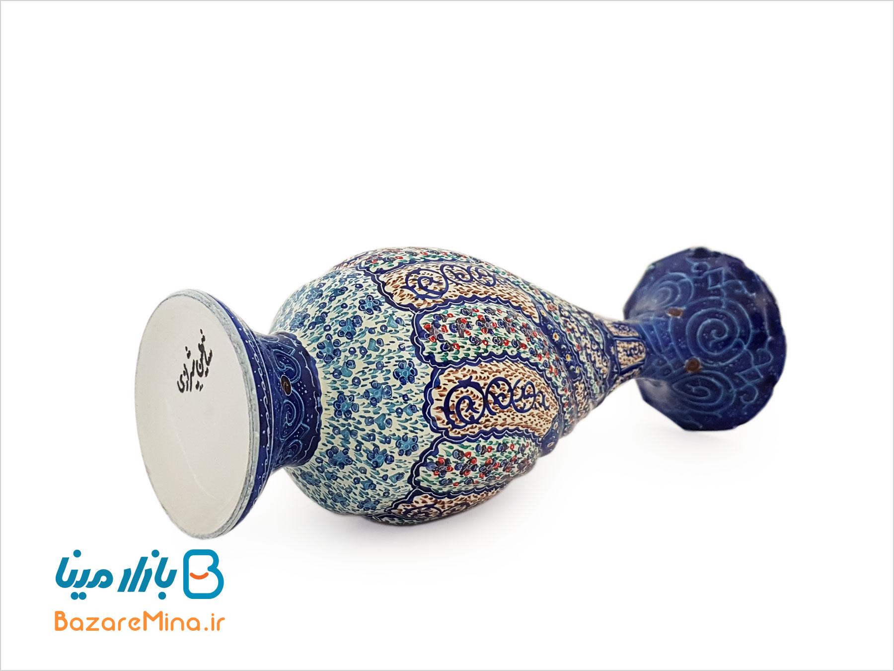 گلدان مسی میناکاری شده اثر شیرازی ارتفاع ۲۰ سانتی متر