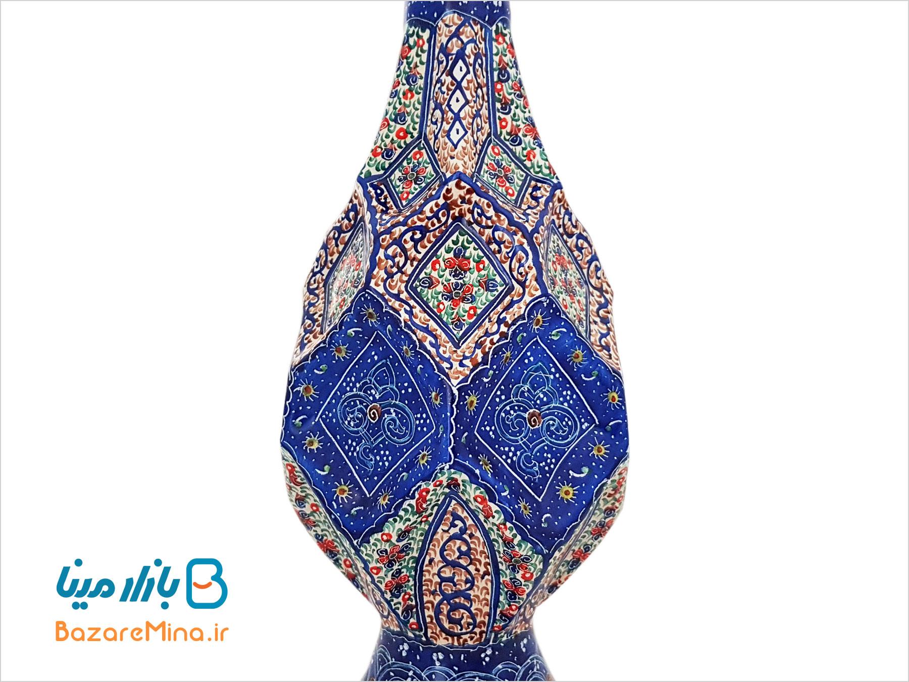 گلدان میناکاری بازار مینا طرح پارمیس ارتفاع 25 سانتی متر