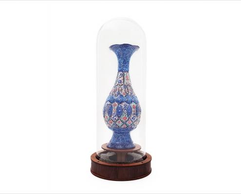 تندیس گلدان میناکاری با حباب شیشه ایی
