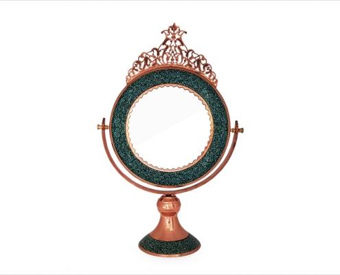 آینه فیروزه کوبی گرد تاج دار