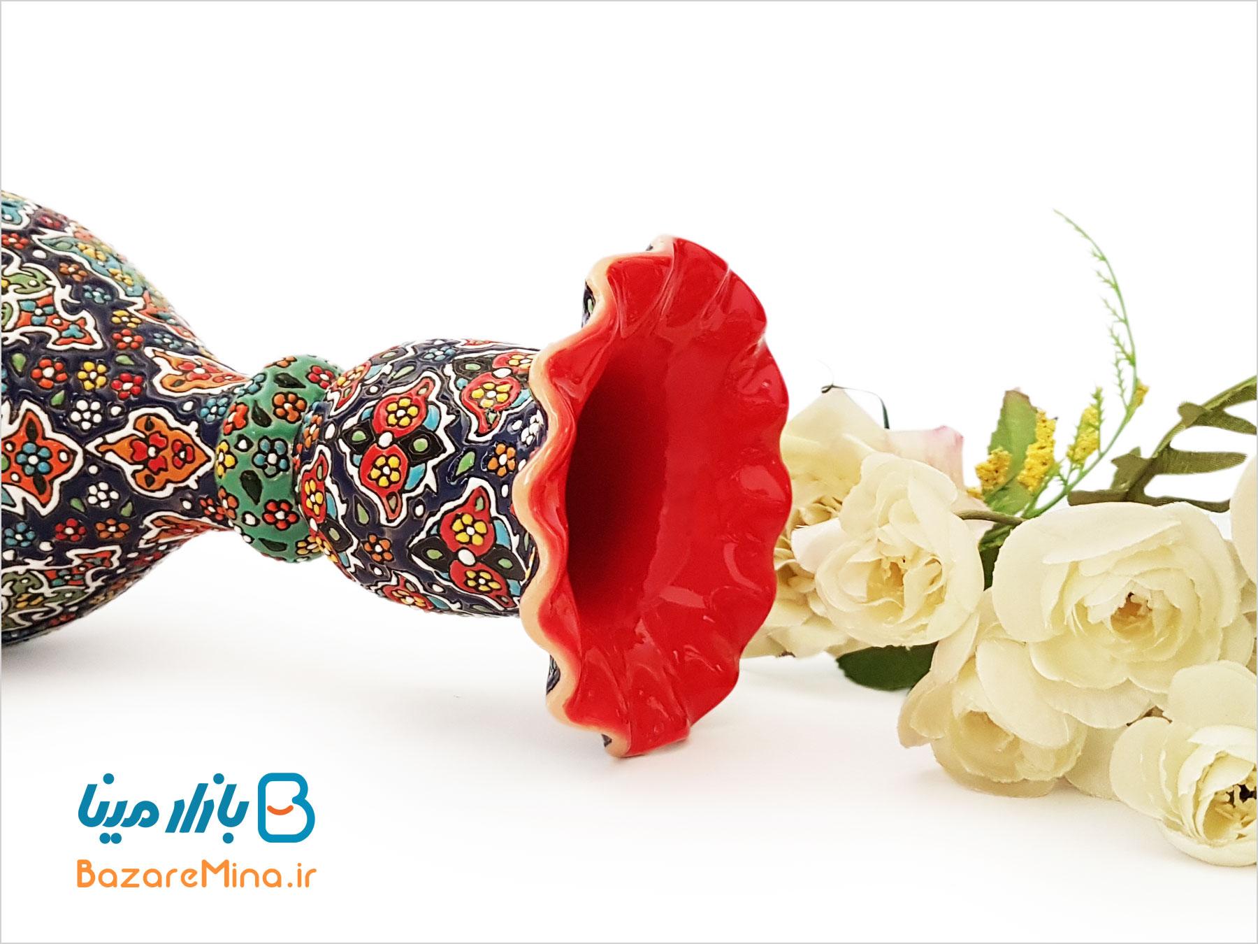 گلدان سفالی میناکاری مدل شاهی