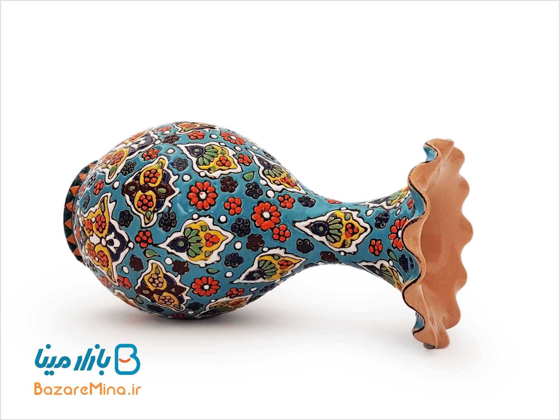 گلدان سفالی میناکاری مدل لب دالبری