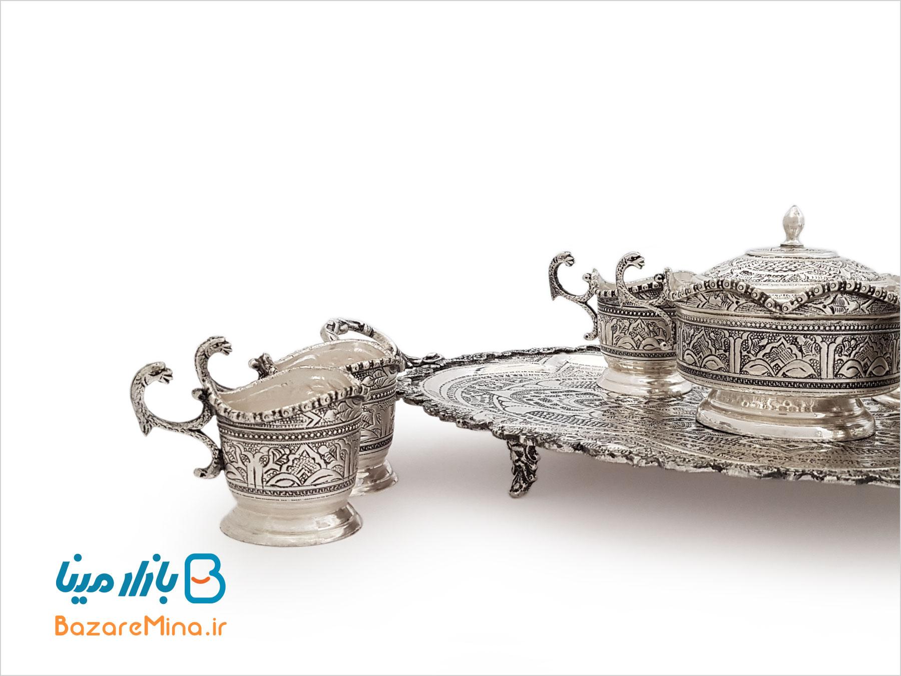سرویس چای خوری قلمزنی آبکاری نقره