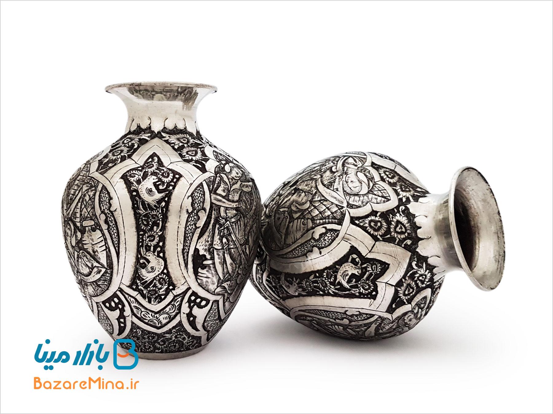 جفت گلدان قلمزنی اصفهان