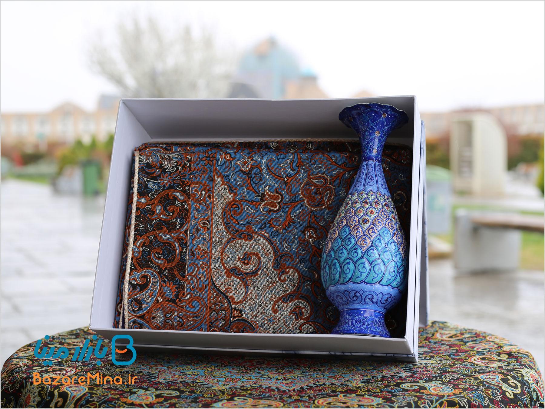 باکس هدیه ترمه و گلدان میناکاری